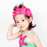 Korean ins children's swimming cap girl swimming cap female baby beach vacation sun hat