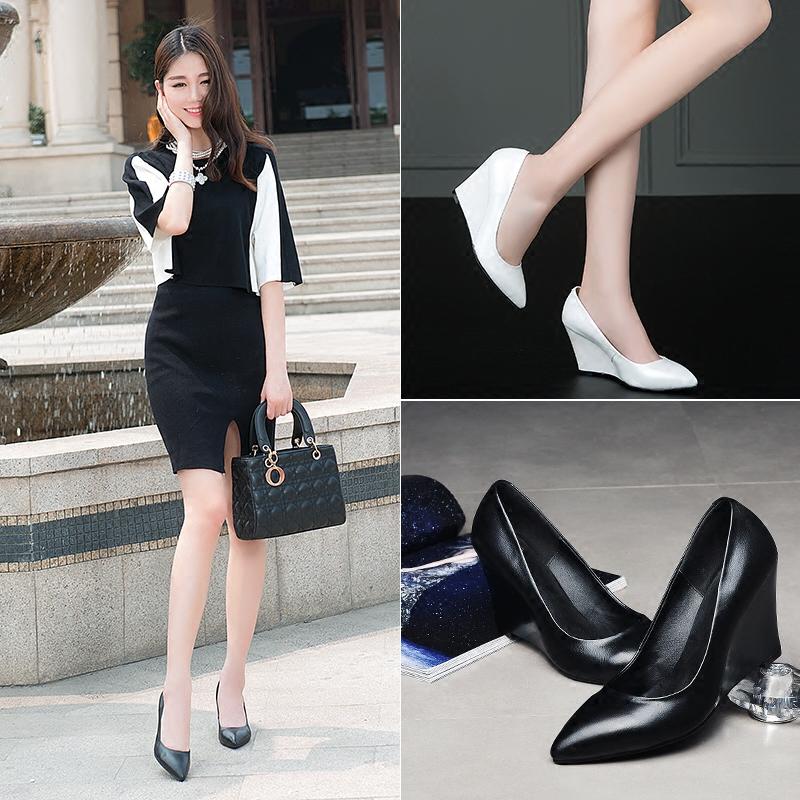 韩版白色羊皮高跟鞋