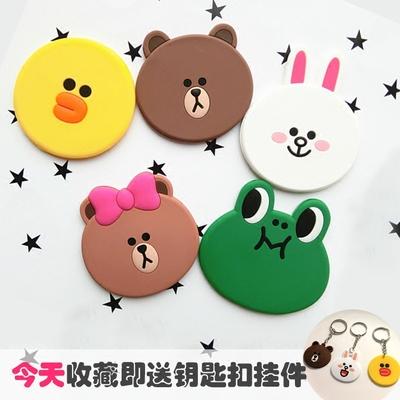 韩国可爱布朗熊随身小镜子化妆镜便携硅胶椭圆迷你卡通补妆手拿镜