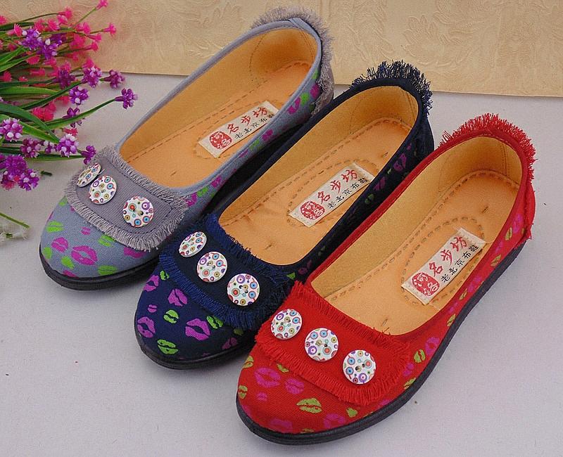 春秋款中年妇女方口鞋圆头平底透气老北京布鞋套脚防滑妈妈女单鞋