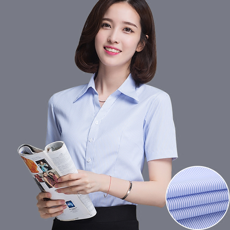 summer ladies short-sleeved business shirt white blue stripes was thin free hot professional V-neck
