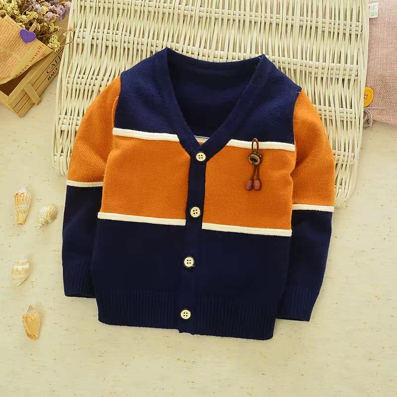 秋装儿童装中小童男童纯棉长袖V领毛衣宝宝羊绒针织衫开衫外套潮