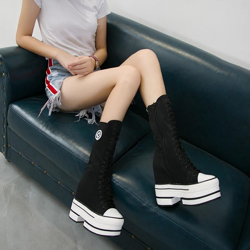 春秋款内增高中靴