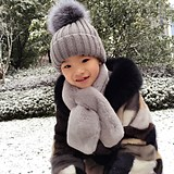 Children's fight fur coat boys and girls true water mane large block stitching long hooded baby mink coat