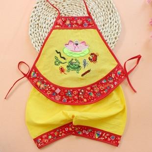 2017新款夏装棉绸宝宝唐装肚兜套装婴幼儿护肚兜小童演出服红绿蓝