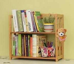 两三层办公桌面书架竹简易学生桌上书架简约小置物架创意实木书柜