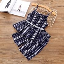 童装2018新款女童时尚套装洋气夏时髦阔腿裤两件套0一1-2-3韩版潮