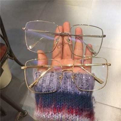 定制复古韩版大方框平光镜装饰网红同款显瘦圆脸眼镜近视眼镜架男
