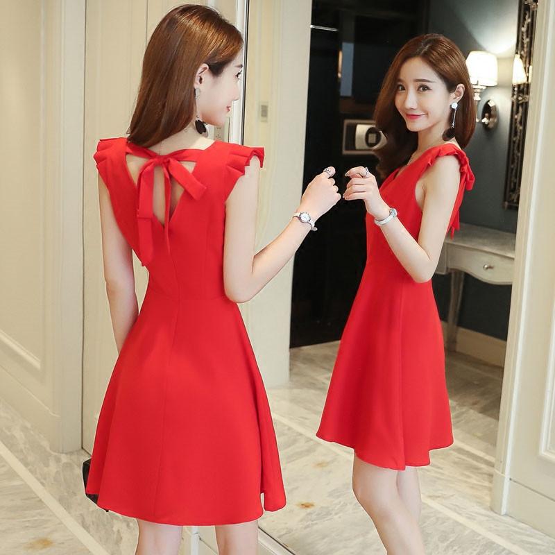 大红雪纺裙