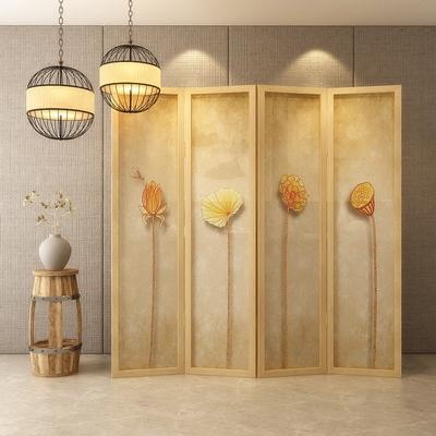 新中式欧式北欧屏风隔断客厅时尚 实木可折叠折屏美式莲蓬