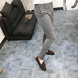 Korea autumn stretch feet trousers men Korean version of the slim fashion free ironing suit pants casual trousers