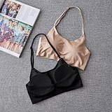 Black ice silk thin section with chest pad wrapped chest hanging neck tube top strap vest bottoming bra underwear student girl