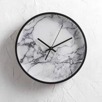 北欧客厅创意时钟卧室墙面家用石英钟表办公室大理石纹静音挂钟