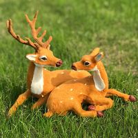 Simulation sika deer home small ornaments plush doll animal model Christmas deer stag deer holiday gift decorations