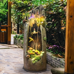 水乡故事家装创意摆设办公室内客厅花园庭院阳台假山流水喷泉摆件