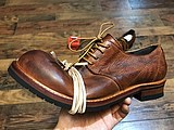 Old retro British style leather low to help big head squat casual wear derby small shoes men and women wild tide brand