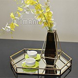 Metal mirror tray decorative basin post-modern European classical model room hotel decoration hexagonal gold tray
