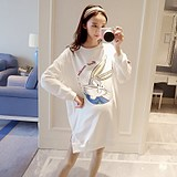 Maternity wear autumn 2018 new Korean version of the long paragraph cartoon T-shirt loose long-sleeved pregnant women sweater autumn shirt