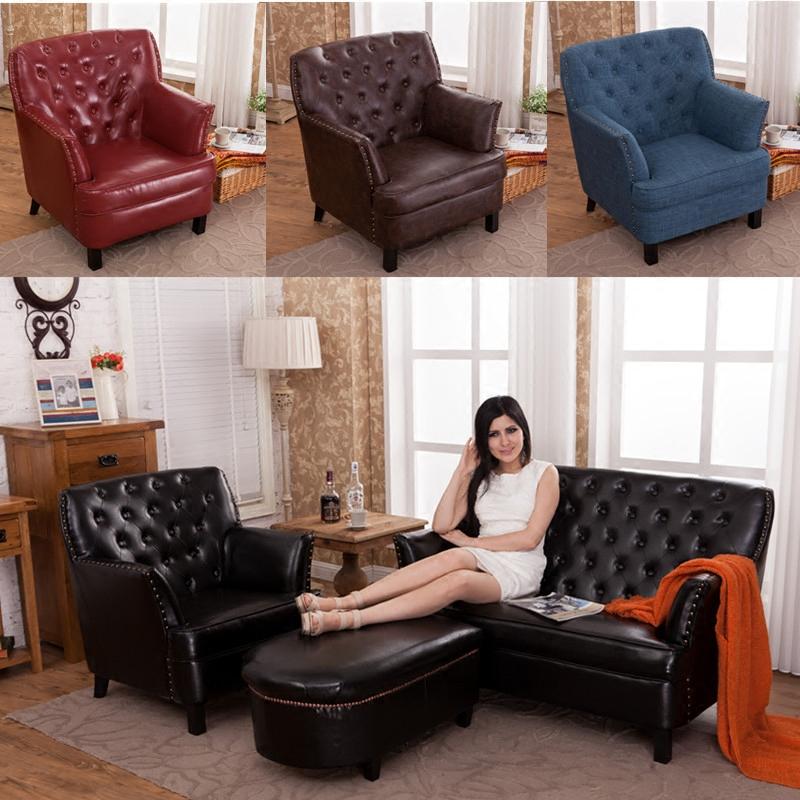 美式欧式复古沙发 咖啡厅皮布艺沙发 卧室阳台办公单双人沙发椅