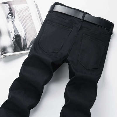 夏季薄款纯黑色牛仔裤男士韩版修身弹力潮流百搭显瘦小脚长裤子潮