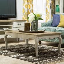 法式乡村美式做旧长方形小茶桌子复古白色家具小户型客厅实木茶几