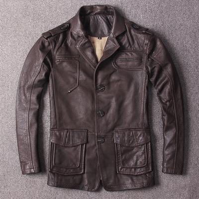 复古中长款真皮猎装西服 男士单排扣休闲皮衣 春秋绵羊皮西装外套