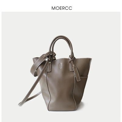 MOERCC休闲手提大包包斜挎女包简约水桶包牛皮子母包时尚单肩包