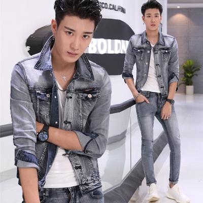 秋季牛仔套装男潮流韩版学生夹克修身弹力帅气休闲装衣服裤两件套