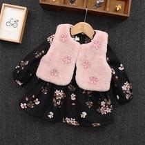 女童洋气套装秋装新款韩版女宝宝碎花加绒连衣裙毛毛衣两件套