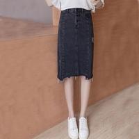 韩版大码学生中长款黑色不规则牛仔裙女H型半身裙高腰显瘦裙子
