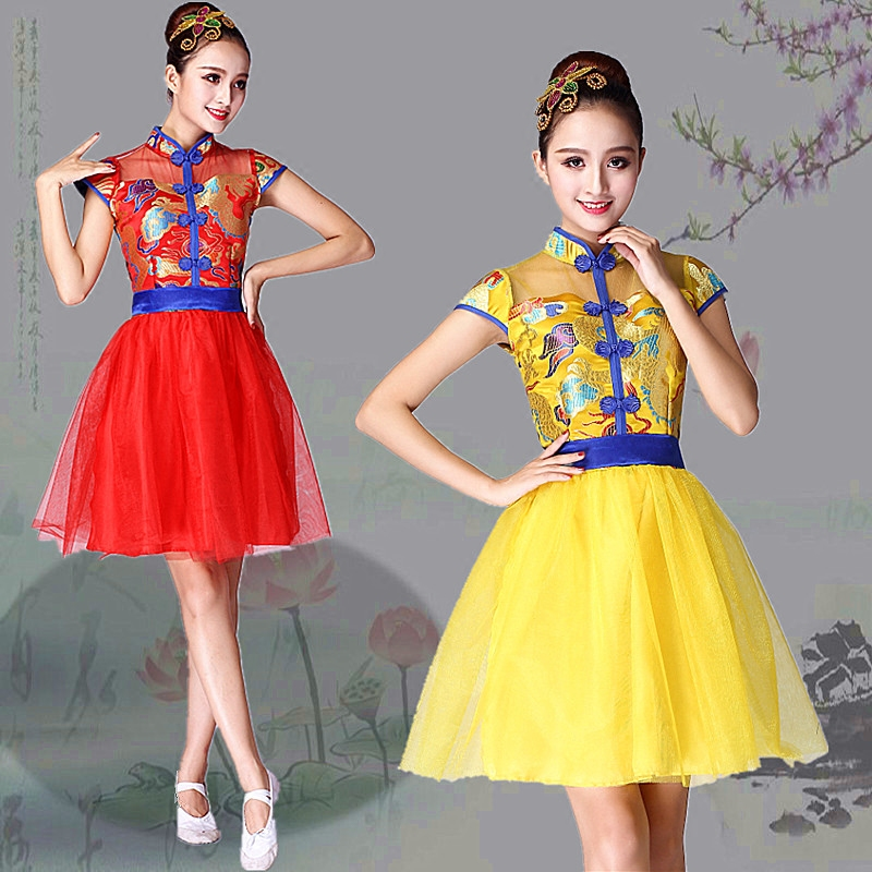 show clothing female adult Chinese style collar dance fan dance dress new modern
