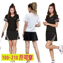 短裙大码 速干加肥加大 裙网球服套装 女款 运动裤 夏短袖 羽毛球服套装