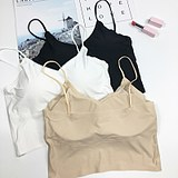 V-neck ice silk short straps tube top anti-light vest vest bra bottom wrapped chest underwear female