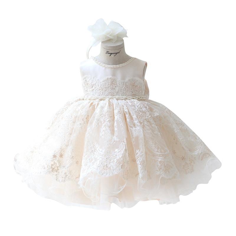 女童公主裙蓬蓬纱蕾丝小花童礼服儿童韩版主持人演出服生日晚礼服