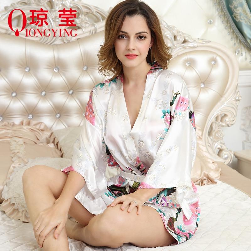 睡衣女夏季新款短袖冰丝薄款丝绸宽松性感孔雀睡袍浴袍家居服