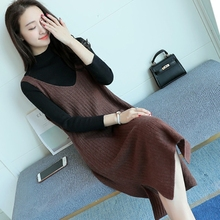 Loose waistcoat woman Chunqiu V-neck vest LONG sleeveless knitted sweater Pullover dress sweater with wool