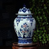 Jingdezhen porcelain blue and white porcelain archaize glaze red general jar storage with cover sitting room decoration technology decoration pieces