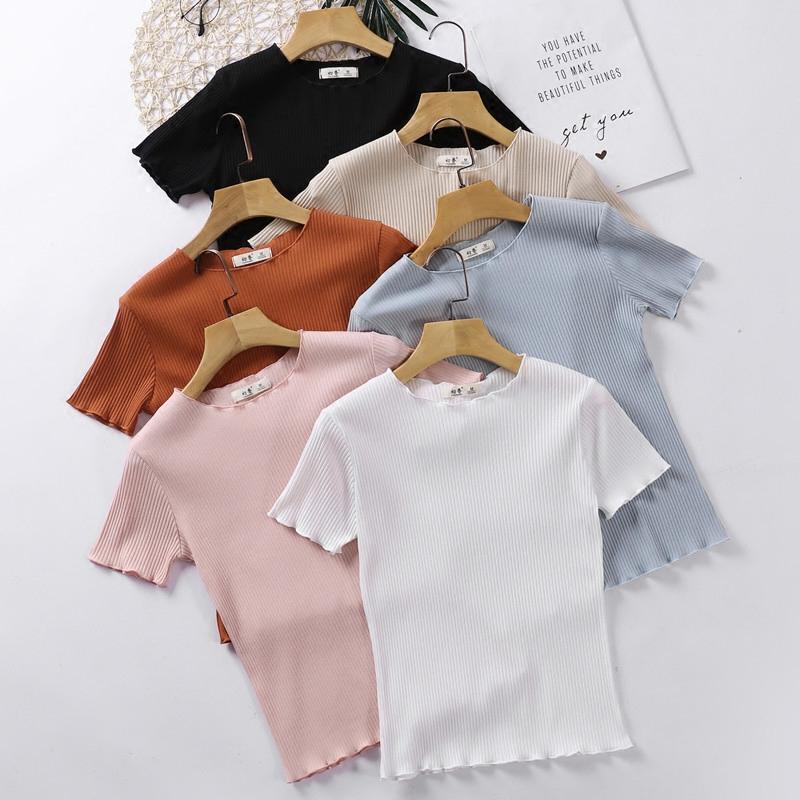 夏季白色T恤女修身显瘦短款上衣紧身薄款打底衫木耳边短袖针织衫
