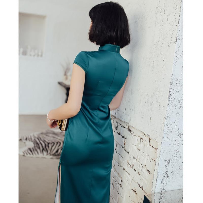 日常改良旗袍2018新款春长款复古连衣裙时尚修身绣花简约旗袍大码