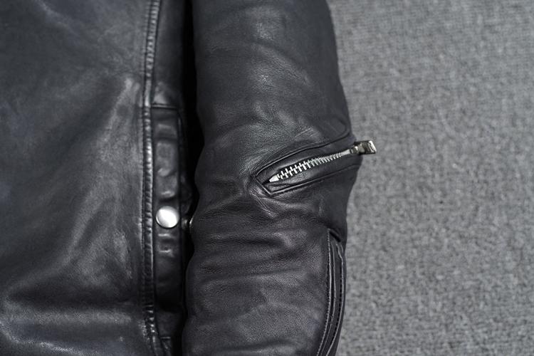 日系新品修身男装无涂水染头层绵羊皮做皱赛车服皮夹克男真皮皮衣