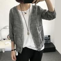 七分袖灰色棉麻
