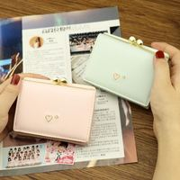 Explosion models 2018 new wallet women short paragraph heart small wallet Korean students small fresh three folding coin holder