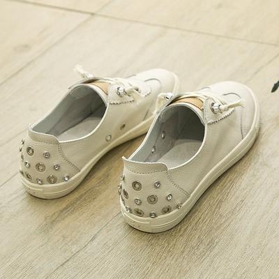 大码女鞋41-43夏季平底百搭透气纯皮小白鞋女真皮2018新款板鞋潮
