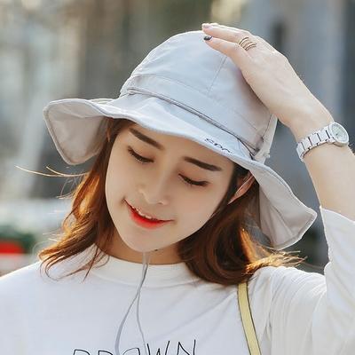 帽子女夏天遮阳太阳帽韩国防晒大沿可折叠户外徒步钓鱼登山渔夫帽