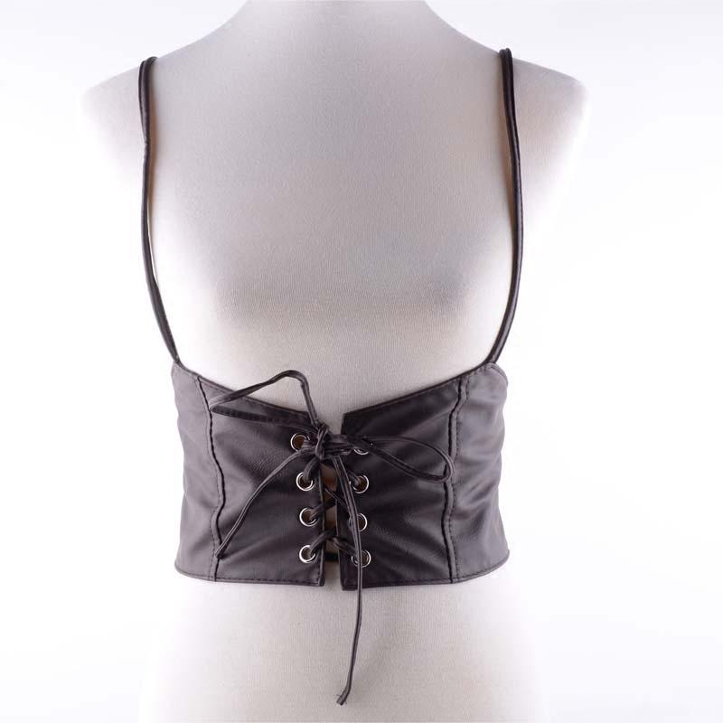 背带牛仔腰封女绑带系带腰封女式超宽连衣裙T恤夏腰带黑色仿皮
