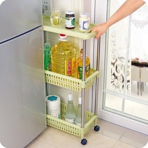 带轮夹缝置物架厨房可移动架子整理架冰箱缝隙杂物架储物架收纳架