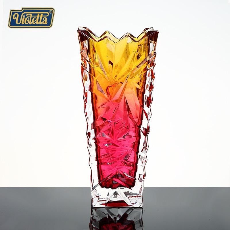 维奥莱特水晶玻璃花瓶 欧式创意家居客厅摆件时尚台面花器装饰品