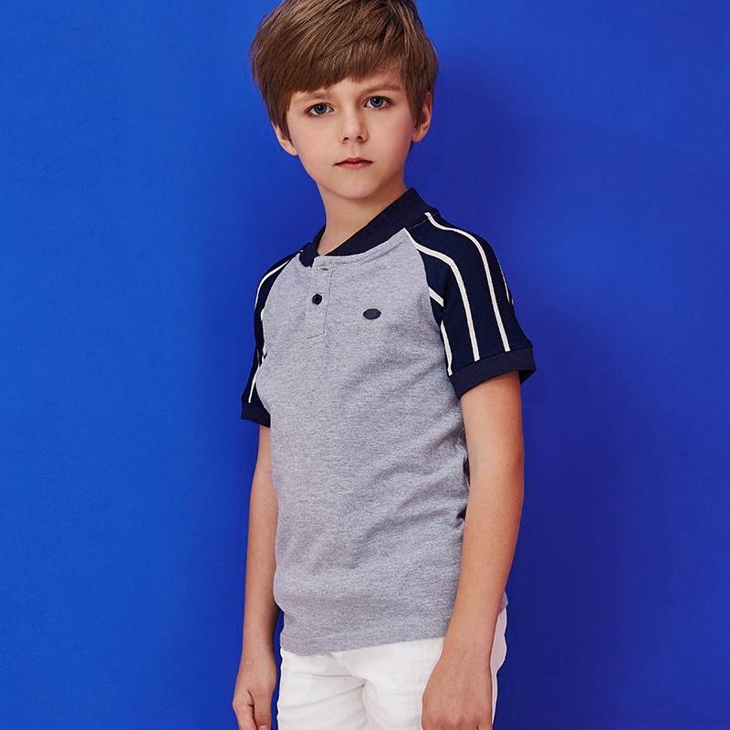 森林与孩子童装男童t恤短袖夏季保罗衫拼接中大童儿童立领polo衫