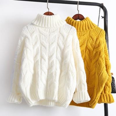 高领毛衣女套头加厚韩版宽松学生短款粗毛线2018新款秋冬季针织衫