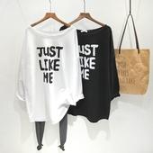 字母印花宽松大码 春季韩版 套头打底衫 T恤女圆领中长款 纯棉长袖